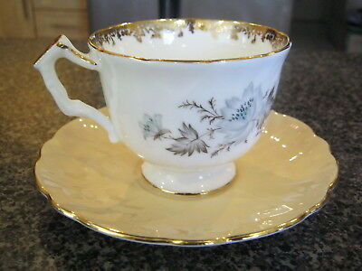 AYNSLEY TEACUP WHITE CUP CREAM SAUCER - GOLD FILIGREE w/ BLUE WHITE FLOWERS