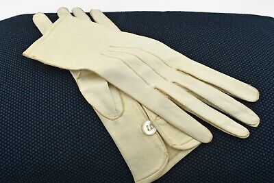 Unworn Vintage Kid Leather Evening Gloves in Ivory White with MoP Button Unlined