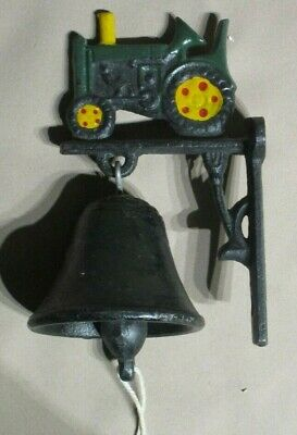 """Vintage Cast Iron Hanging Door Bell Rustic Old Tractor Home Decor 5"""" Tall 3"""" Dee"""