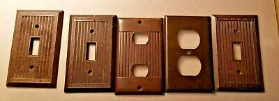 Vintage Brown Wall Outlet Covers/ Switch plates Lot Of  Five