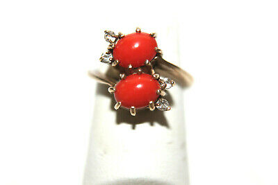 Vintage DASON 10K Yellow Gold Red Coral Ring Sz 6