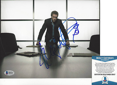 HUGH LAURIE SIGNED AUTHENTIC 'HOUSE MD' 8x10 SHOW PHOTO D ACTOR BECKETT COA BAS