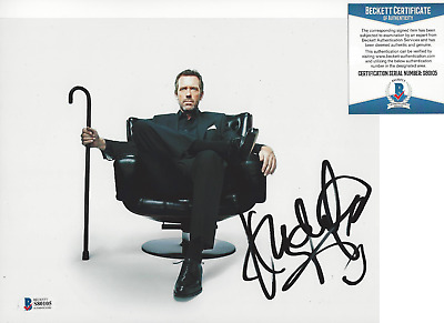 HUGH LAURIE SIGNED AUTHENTIC 'HOUSE MD' 8x10 SHOW PHOTO F ACTOR BECKETT COA BAS