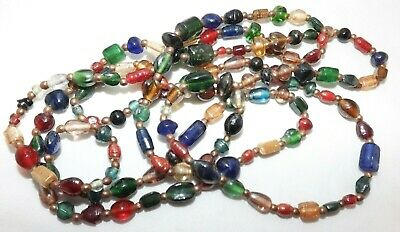 """Old Elegant Iridescent Colorful Long Glass Beaded Opera Necklace 58"""" LONG"""