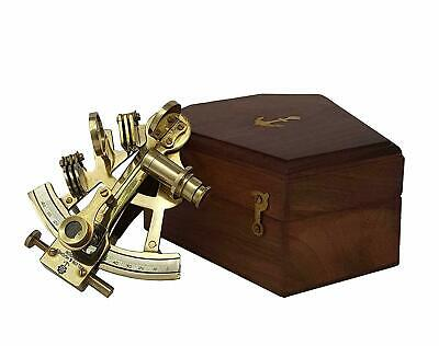 Nautical Marine Maritime Brass Sextant Vintage Astrolabe Ships With Wooden Box