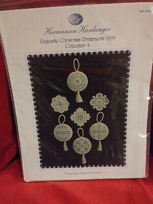 Hermanson Hardanger Exquisite Christmas Ornaments 1999 Collection 4- 7 Designs