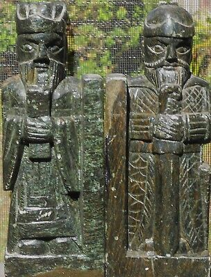 Antique Hand Carved Chinese Bookends - Solid & Heavy!!