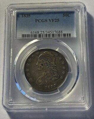 PCGS Graded, 1835 Capped Bust Silver Half Dollar.