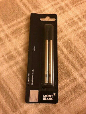 NEW GENUINE - MONTBLANC Rollerball Pen 2 Refills - MYSTERY BLACK - MEDIUM POINT