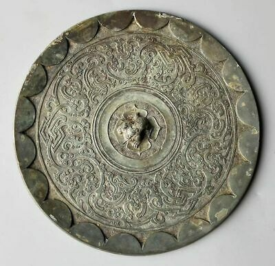 China Ancient Warring States Bronze Dressing Mirror Dragon Statue Beast Pattern