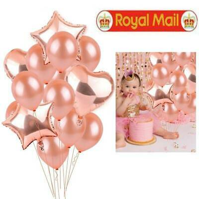 14Pcs Rose Gold Foil Latex Balloons Set Helium Wedding Birthday Hen Party Decor