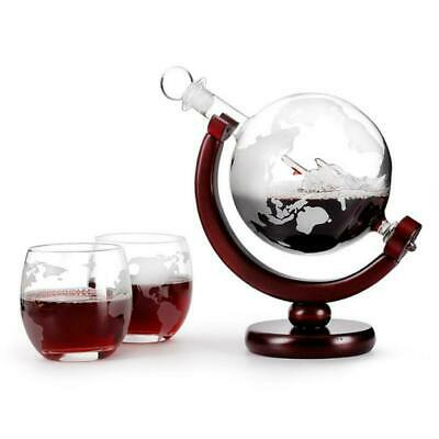 Whiskey Brandy Globe Decanter Glass Set Mens Unique  Gift  with 2 glasses