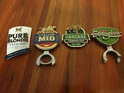 4x metal Beer Tap Badges pure blonde, carlton, cascade and strongbow.