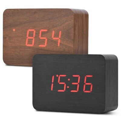 Wooden Electronic Digital Alarm Clock with Two Modes Temperature LED Display