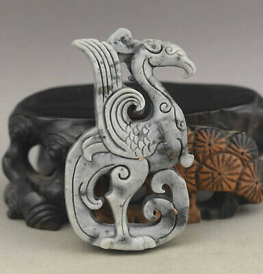 Old Chinese natural jade hand-carved phenix pendant