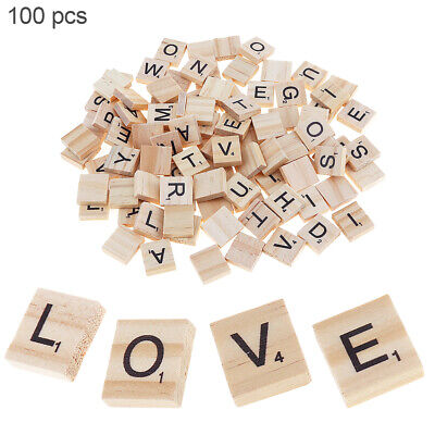 100 x Mix Varnished Wooden Scrabble Tiles Letters Craft Alphabet Game Gift Toy