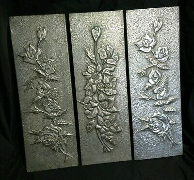 Arts and Crafts Style Pewter Relief Wall Plaques Artwork