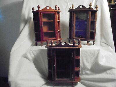 Antique/Vintage wall mounted/counter top glass fronted wooden display cabinets