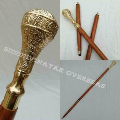 Victorian Solid Brass Long Head Handle Antique Style Wooden Walking Stick Canes