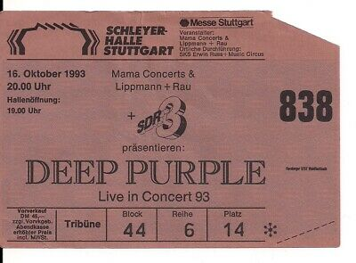 DEEP PURPLE Used Ticket Stuttgart 16.10.1993 (Come Hell Or High Water)