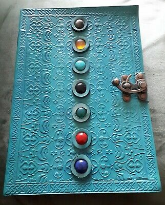 Large Embossed Turquoise Leather 7 Gemstone Journal/Notebook With Clasp Lock New