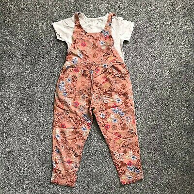 Next Girls Pink Floral Dungaree and Cream Tee Combo - Age 3-4 Years