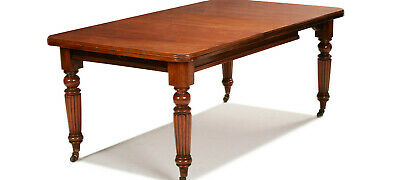 Victorian Antique Mahogany Extending Dining Table with Leaf and castor feet