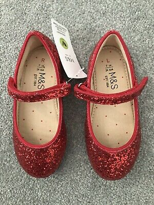 Marks & Spencers M&S Gorls Red Sparkly Shoes - UK 7 - Tags On
