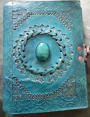 Small Turquoise Embossed Leather Single Gemstone Journal/Notebook With Clasp...