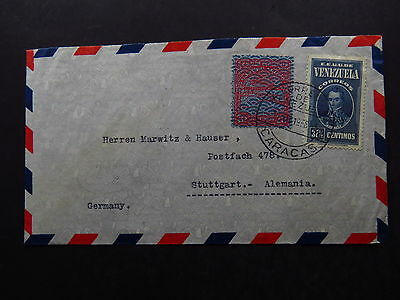 Cover Por Avion Venezuela Caracas to Stuttgart Alemania Germany 1958