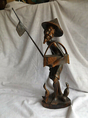 VTG. Oriental Chinese Hand Carved Wood Figure Old Man With Geese & Basket