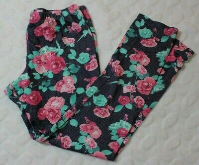Self Esteem Girls Leggings Pants Size 10 Blue Pink Floral Bow Hem Easter
