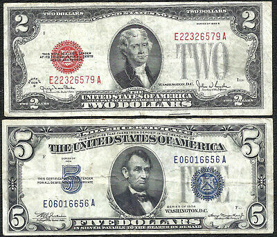 1928G $2 RED! 1934 $5 *SILVER* 2 Notes! Old US Paper Money Currency!