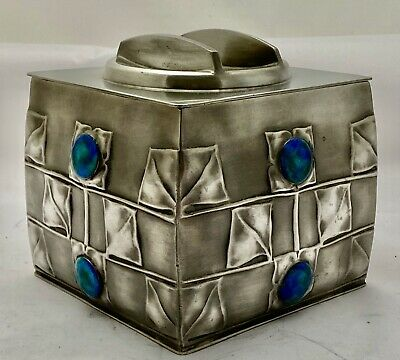 very fine Liberty & Co tudric pewter & enamel biscuit box Archibald Knox 0194