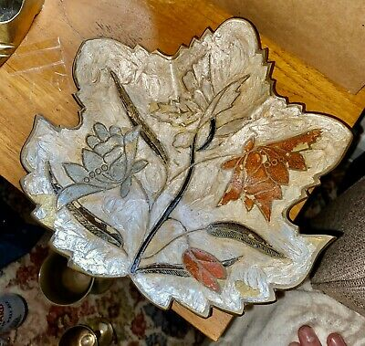 arts and crafts handpainted copper dish