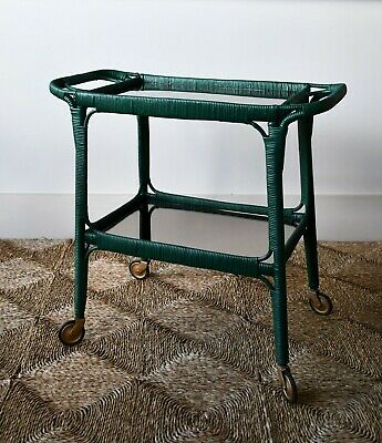 Vintage Lloyd Loom Style Bamboo Rattan Glass Coffee Bed Side Lamp Trolley Table