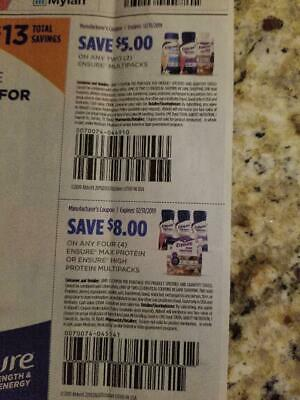 (2) Ensure Multipack Drink Coupons - Save $5 and $8 - exp 12/31/19 - $13 Value!
