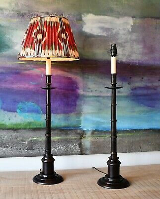 A Pair of Faux Bamboo Candlestick Column Brass Bronze Hall Side Table Lamps