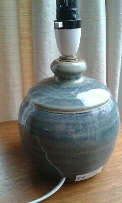 Hand thrown pottery lamp base, Richard Thomas, blue shades
