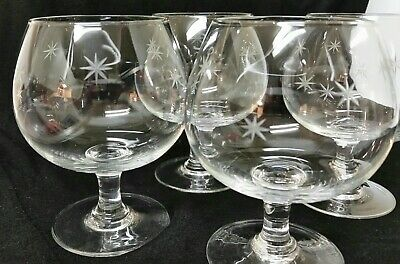 4 Mid Century Modern Atomic Star Glasses BRANDY SNIFTER Vintage Etched Clear