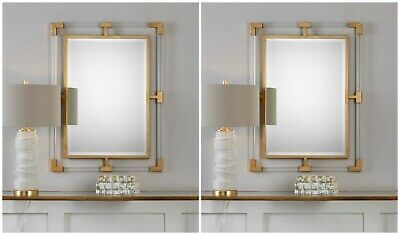 "Pair Modern Clear Acrylic & Metal Frame Xxl 38"" Wall Vanity Mirror Uttermost"