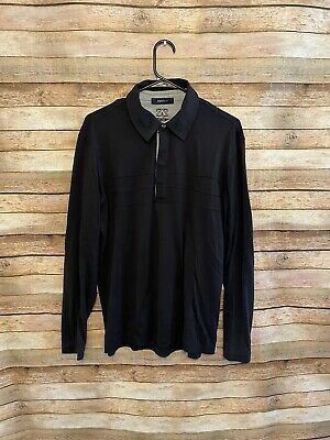 Zegna Sport Mens Black Long Sleeve Polo Shirt Size Large Hidden Buttons EUC