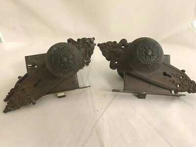 Russell & Erwin R&E Doorknobs, Back-Plates, Mortise Locks 2 Sets Anjou 7935