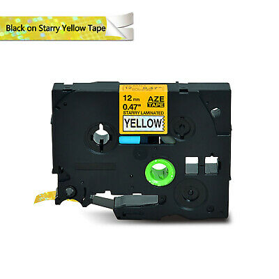 """1PK TZe-S631 TZS631 Strong Adhesive Label for Brother PT11Q 1//2/"""" Black on Yellow"""