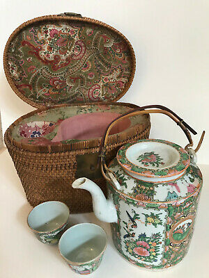 Antique Chinese Hand-Painted Porcelain Teapot Set with Woven Basket Travel Set