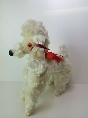 Vintage 1950's White Push Stuffed Standing French Poodle Red Ribbon Bow Wavy Fur