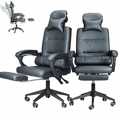 Adjustable Office Chair Racing Gaming Swivel PU Leather Computer Desk Seat Black