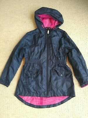 BNWOT Blue Zoo navy hooded mac raincoat age 9