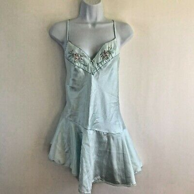 Vintage Made In USA Victoria's Secret Baby Blue Floral Embroidery Sz Large Teddy