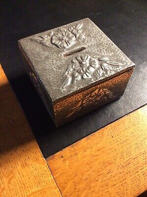Arts & Crafts Coin Box Metal Floral Motif Hand Hammered c1920/30s